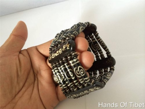 Handmade Seven Line Yak Bone Dzi Beads Om Mani Padme Hum Bracelet