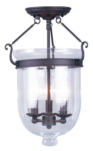 Livex Lighting 5062-07 Jefferson 3 Light Bronze Bell Jar Semi Flush with Clear Glass