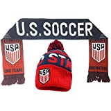 USA Soccer Beanie and Scarf Gift Set, Winter Knit Hat Cap with a Scarf one Nation One Team (Grey/Navy)