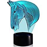 Night sleeping lamp decorative lamp Horse Head Night Light - Colorful LED Lamp 7 Color Change Optical Illusion Touch Table Desk Lamp Birthday Gift
