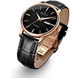 BOCCI Mens Casual Automatic Watches Leather Band Waterproof Wristwatch for Men Rose Gold Watches