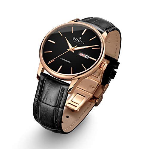 - BOCCI Mens Rose Gold Watch Leather Band Japanese Automatic Watch Mechanical Casual Dress Wrist Watch Waterproof with Date Luminous Unisex