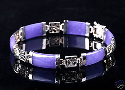 New Natural Purple Jade Gemstone White Gold Plated Fortune Lucky Link (New Jade Stone)
