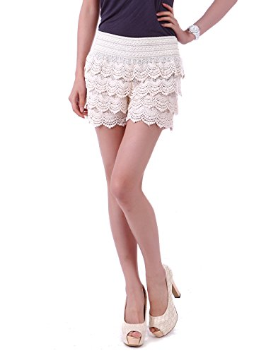 - HDE Women's Lace Shorts Fitted Scallop Hem Crochet Mini Hot Pants (Cream, Small)