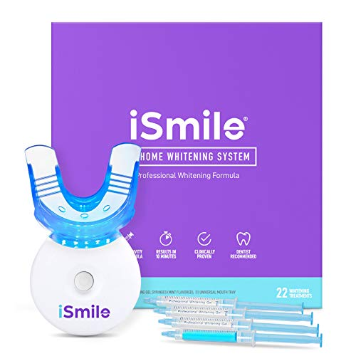 iSmile Teeth Whitening Kit – LED Light, 35% Carbamide Peroxide, (3) 3ml Gel Syringes, (1) Remineralization Gel, and Tray.