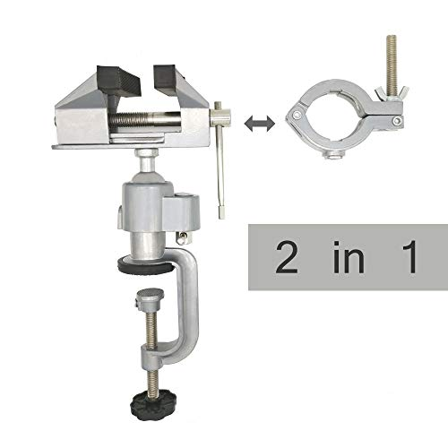 JUGREAT 2in1 Table Vise Bench Vice 360 Degree Aluminum Alloy Swivel Rotating Clamp for Electric Drill Stent Grinder Tools Holder (Aluminum Bench Vise)