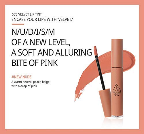 [3CE] VELVET LIP TINT #NEW NUDE A warm neutral peach beige with a drop of pink