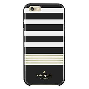 Kate Spade New York Stripe Hybrid Hardshell iPhone 6/6s Case - Black White Gold Foil