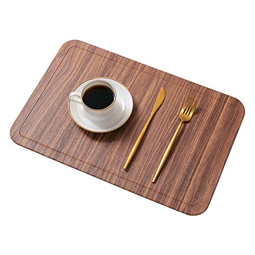 (SMILINGGIRL Place Mats, Imitation Wood Grain Round Corner Placemat And Coasters Sets of 4 - Premium Heat Resistant Non-Slip Anti-Scalding Insulation Placemat Washable Tableware Square Dining Table Mat)