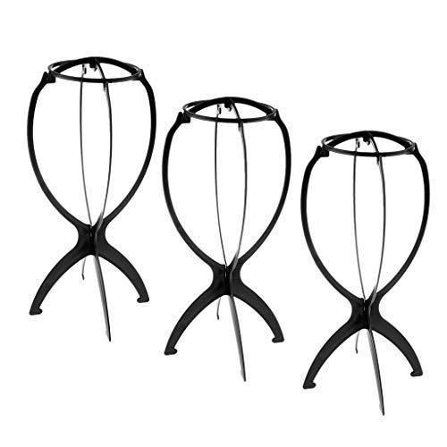 Flameer Pack Of 3 Black Collapsible Wig Stand, Portable Wig