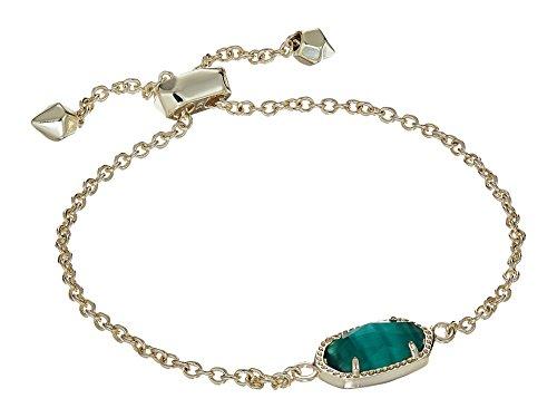 Kendra Scott Elaina Adjustable Chain Bracelet In Emerald Cat's Eye