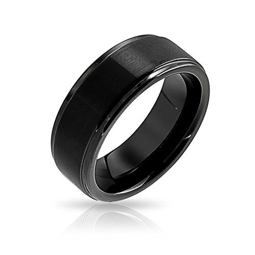 Bling Jewelry Classic Wide Black Mens Womens Tungsten Comfort Fit Wedding Band Promise Ring Matte Finish 8mm