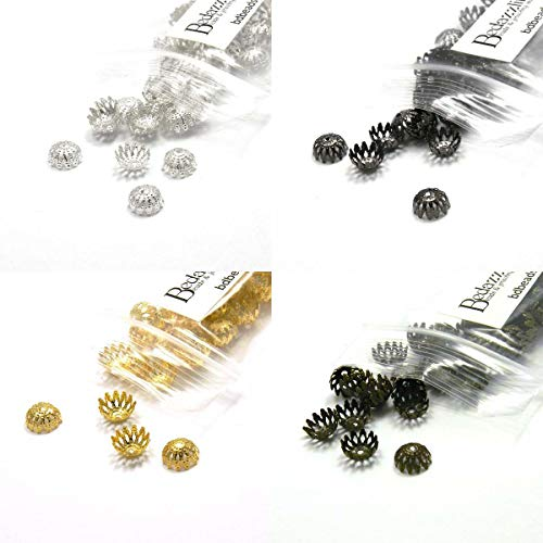 Dome Filigree Loose Spacer Bead End Accent Caps Plated Metal (Assorted) ()