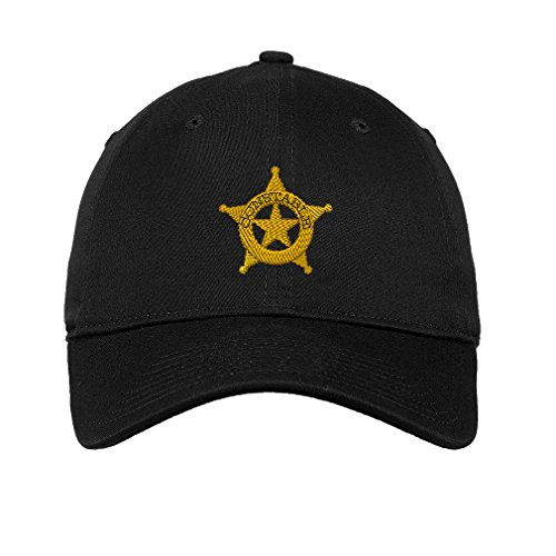 (Speedy Pros Constable Police #2 Embroidered Unisex Adult Flat Solid Buckle Cotton Unstructured Hat Low Profile Cap - Black, One)