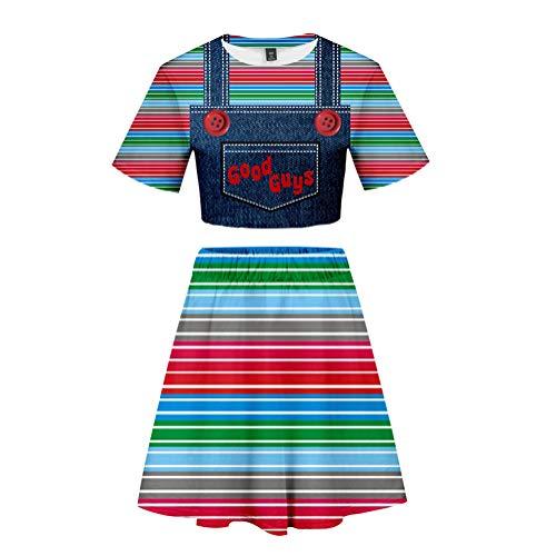 WDDWYHLL Summer Short Sleeve Tops + Short Skirt Outfits Sets Printed Good Guys Chucky for Women,M ()
