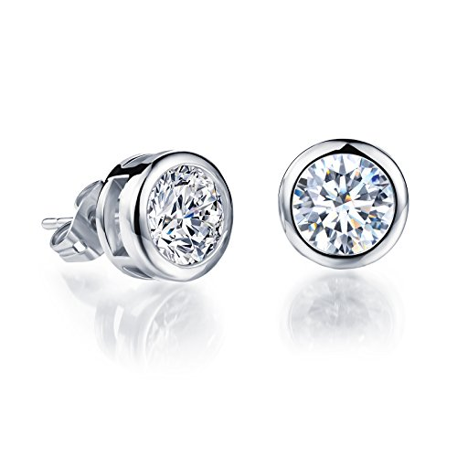 OPK Jewelry Platinum Plated or Gold Plated Round Cut Cubic Zirconia Stud Earrings 5mm/6mm/7mm/10mm