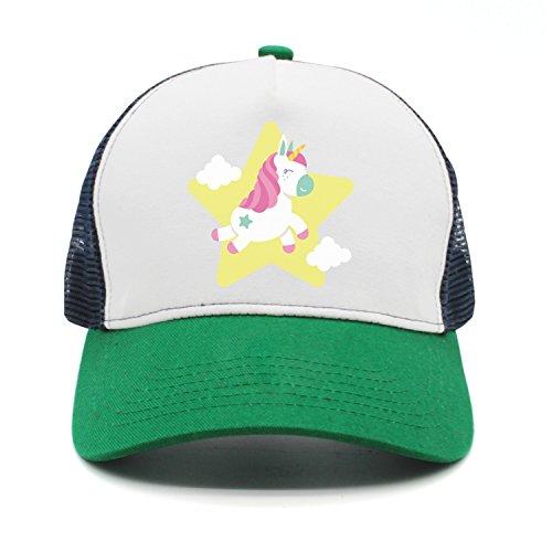 Yellow Star Unicorn Man Unisex Fashion Mesh Cap Baseball Cap Trucker Hat