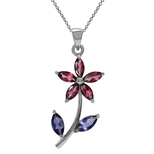 Natural Rhodolite Garnet & Iolite 925 Sterling Silver Flower Leaf Pendant w/ 18 Inch Chain Necklace