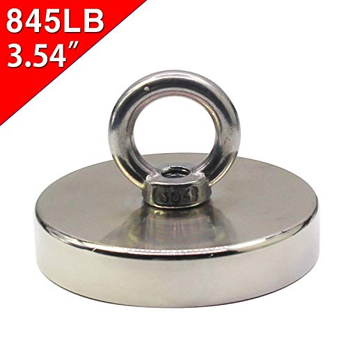 HongsMarket 845LB(380KG) Super Powerful Neodymium Fishing Magnets With Black Epoxy Bond, Magnetic Grade N38 Diameter 3.54(D90mm) Round Neodymium Magnet with Eyebolt - Magnet for River or Lake Fishing