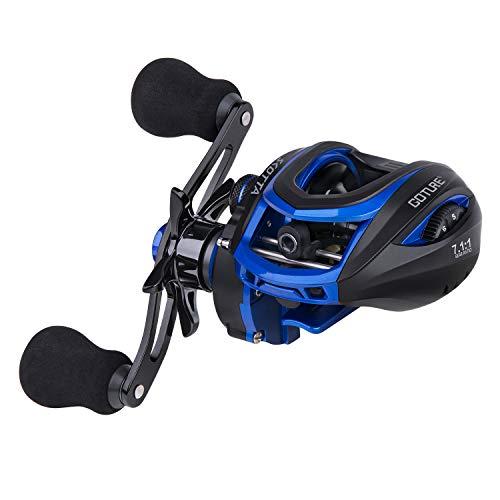 Goture Baitcasting Reels Right Handed Baitcaster Fishing Reel Carbon Fiber Drag Magnetic Brake Dual Brakes 7 1 Bearings 7.1 Gear Ratio 17.5lbs Max Drag Blue