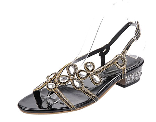 Women's Classic Buckle Design Fashion Rhinestone Thong Flat Sandals 01#black pu vjXc3ojzu