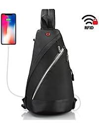 Sling Bag with RFID blocking - Crossbody Bag for men women - black daypack Swiss Design lightweight - Waterproof backpack with USB port - one strap backpack for travel
