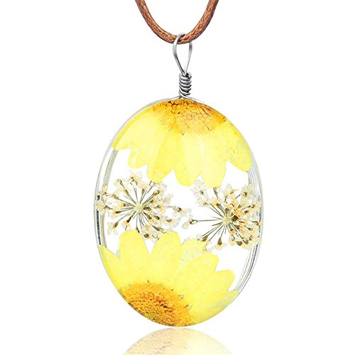 VEINTI+1 New Arrival Creative Natural Dried Flower with Transparent Glass Surface Women/Girl's Fashion Necklace (Oval-Sun Flower-Yellow) ()