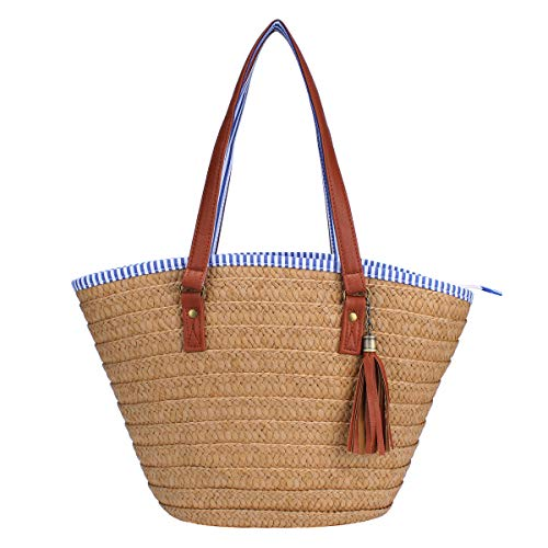 Sornean Straw Beach Bag Handbags Shoulder Bag Tote,Cotton Lining,PU Leather Handle-Eco Friendly (Brown Medium)