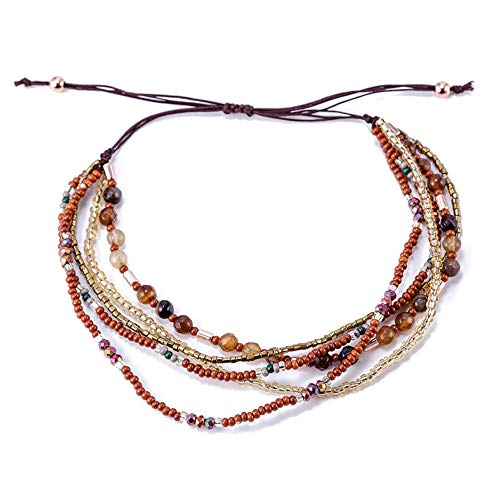 TOMLEE Bohemian Hand-Woven Beaded Chain Layered Bracelet Adjustable String Braided Stretch Knot Crystal Beads Bracelets