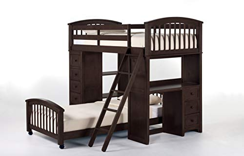 Hillsdale Furniture 5080NLLTB Hillsdale Kids and Teen Charlie Bunk Twin, Chocolate Student Loft with Lower Bed ()