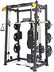 ALTAS Strength AL-3000 Multi Function Smith Machine Black and Yellow 2000IB Workout Light Commercial Fitness E