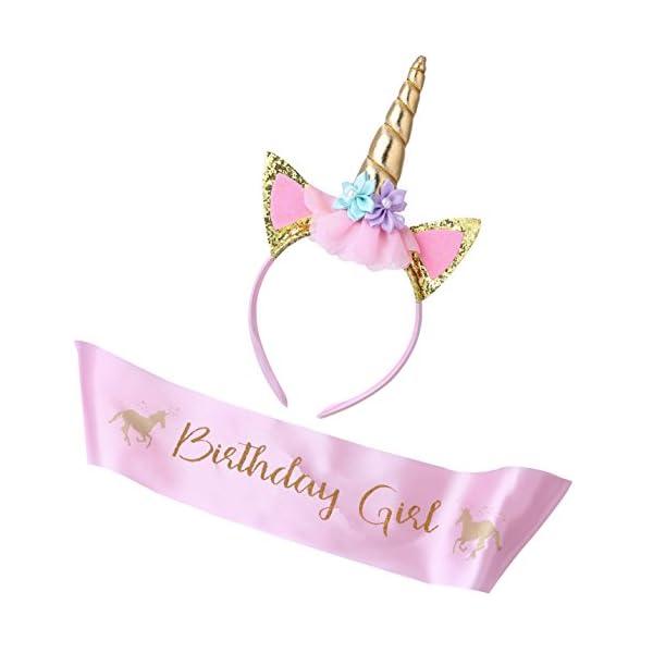 Cooper Fun Unicorn Birthday Set of Gold Glitter Unicorn Headband Pink Satin Sash for Happy Birthday Unicorn Party… 5