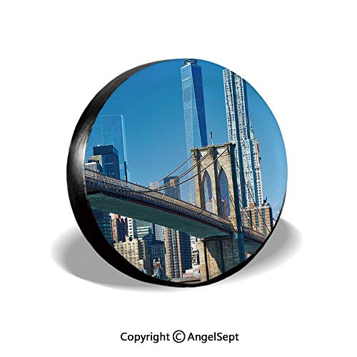 Spare Tire Cover,Lower Manhattan Skyline Brooklyn Bridge in New York City Famous Landmark,Light Blue Tan,for Jeep,Trailer, RV, SUV and Many Vehicle 15