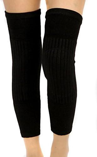 TININNA Winter Atmungsaktive Elastische Wolle Kniewärmer Kaschmir Knie Klammer Knieschoner schwarz EINWEG Verpackung