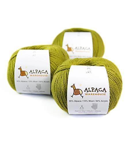 Acrylic Alpaca Yarn - Blend Alpaca Yarn Wool Set of 3 Skeins Fingering Weight (Pistaccio)