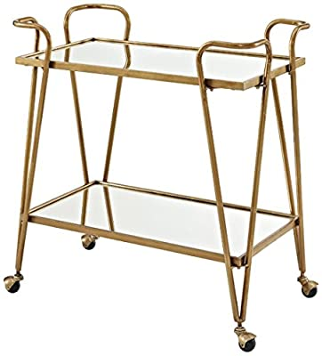 Linon Gina Mid-Century Bar Cart, Gold