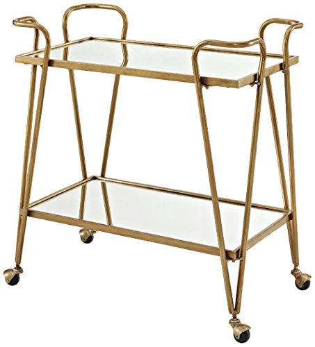 Serving Carts Brass - Linon AMZN0215 Gina Mid-Century Bar Cart, Gold