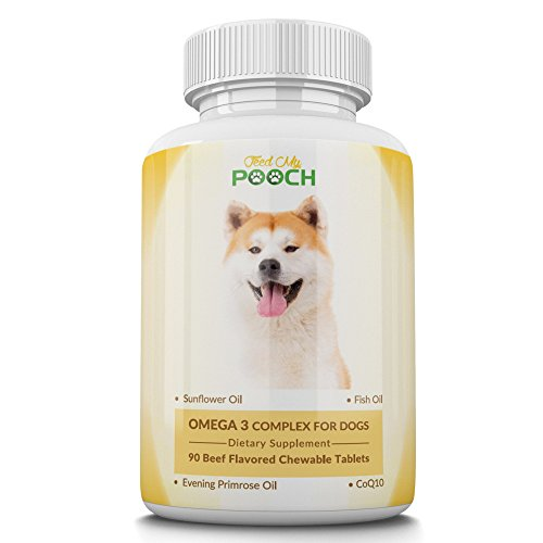 Omega 3 Fish Oil for Dogs - Omega 3,6,9 Fatty Acid Supplement with Hawthorne Berry Extract & Antioxidant CoQ10 - For Itchy Skin, Shiny Coat, Joint and Heart Health - 90 Chewable Tablets - Made In USA Dog 6 Tablets