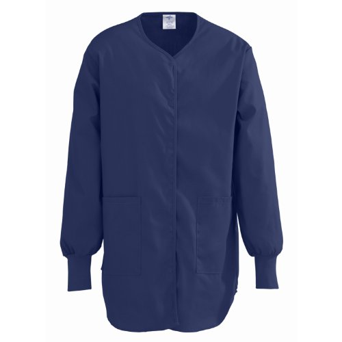 Shirttail Scrub (Medline ComfortEase Ladies Shirttail Style Scrub Jacket, XXL, Midnight Blue)