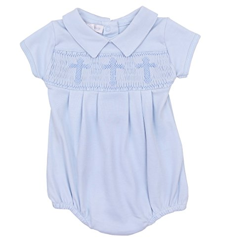 Magnolia Baby Baby Boy Blessed Baby Smocked Collared Boy Bubble Blue 3 Months