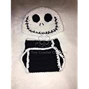 Crocheted Handmade Baby Newborn Disney Nightmare Before Christmas Jack Skellington Inspired Outfit - Halloween Costume - Baby Shower Gift - Photo Prop - Hat - Diaper Cover - Baby Clothes - Baby Outfit