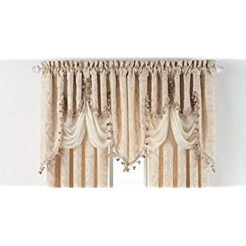 portofino fringed woven jacquard valance by regal home collections for goodgram beige