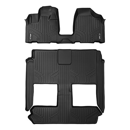SMARTLINER Floor Mats 3 Row Liner Set Black for 2008-2018 Dodge Grand Caravan / Chrysler Town & Country (Stow