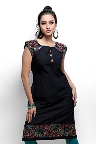 Jayayamala femmes mini robe noire, Boho, Robe longue, en coton tissé, Robe dété, robe sans manches