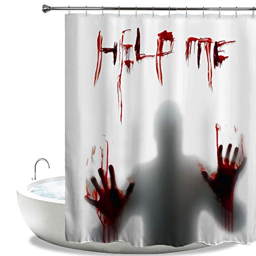 HIYOO Bathroom Decorative Polyester Fabric Waterproof Bath Shower Curtain, Halloween Scary Horror Thrilling Theme Design, High-definition Image, With Hooks 72