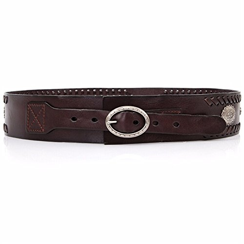 ZHANGYONG Retro weave leisure wide waist lead layer cowhide women waist seal Decorative Belt,Coffee (Lead Weave)