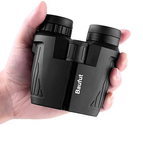 Baufut 12×25 Compact Binoculars for Adults Kids with Low Light Night Vision,Rotatable Eyepiece High Power Waterproof Lightweight Binoculars for Bird Watching Hunting Traveling Hiking Concerts