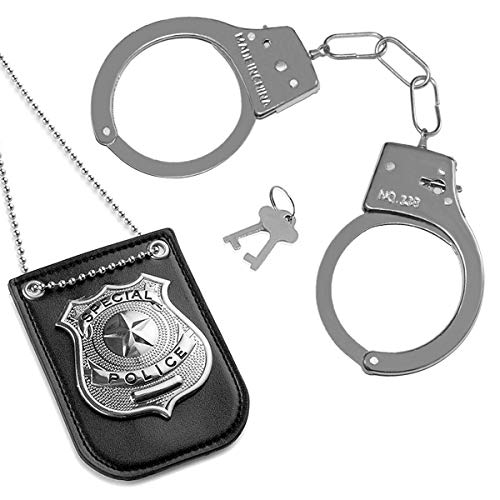 - HOLOMY Police Pretend Set for School Classroom, Dress Up Police Badge Include Chain and Belt Clip, Police Handcuffs and Badge for Kids, Detective Role Play Accessories