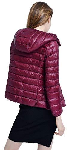Mantello Lunga Cappuccio Laterali Corto Caldo Winered Leggero Invernali Cappotto Piumino Cerniera Coat Tasche Vintage Donna Con Manica Monocromo Di Alta Qualità 46qw84Z