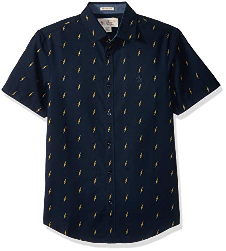 Original Penguin Men's Short Sleeve Lightening Print Oxford, Dark Sapphire, Large by Original Penguin